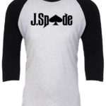 J.Spade words baseball tee blk and white